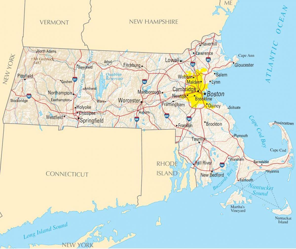 boston karte Boston auf der Karte   Boston auf einer Landkarte (Vereinigte  boston karte