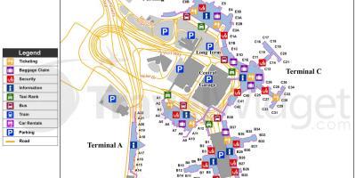 Logan Flughafen-terminal b-map - Karte von Logan airport ...
